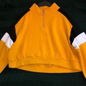 mustard yellow zip up cropped crew neck